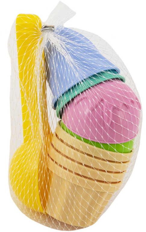 Sada na písek zmrzlina lopatka 15cm + 8 báboviček plast v síťce 2 barvy