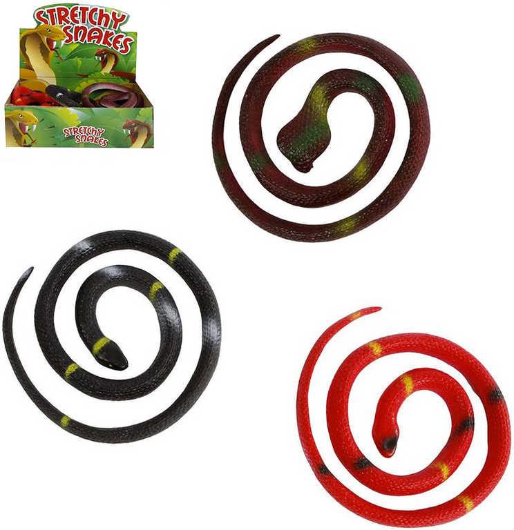 Had gumový měkké zvířátko 65cm natahovací různé barvy