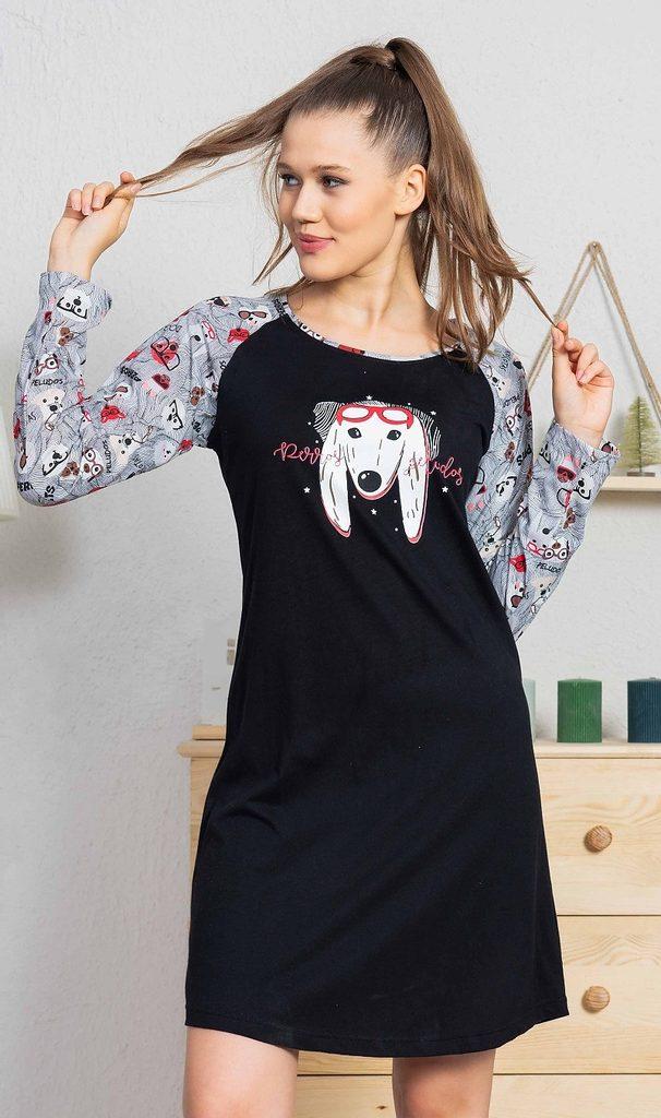 Dámská noční košile s dlouhým rukávem Pes s brýlemi - černá