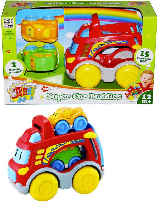 Baby autíčko přepravní set kamion s očima + 2 auta pro miminko Světlo Zvuk plast