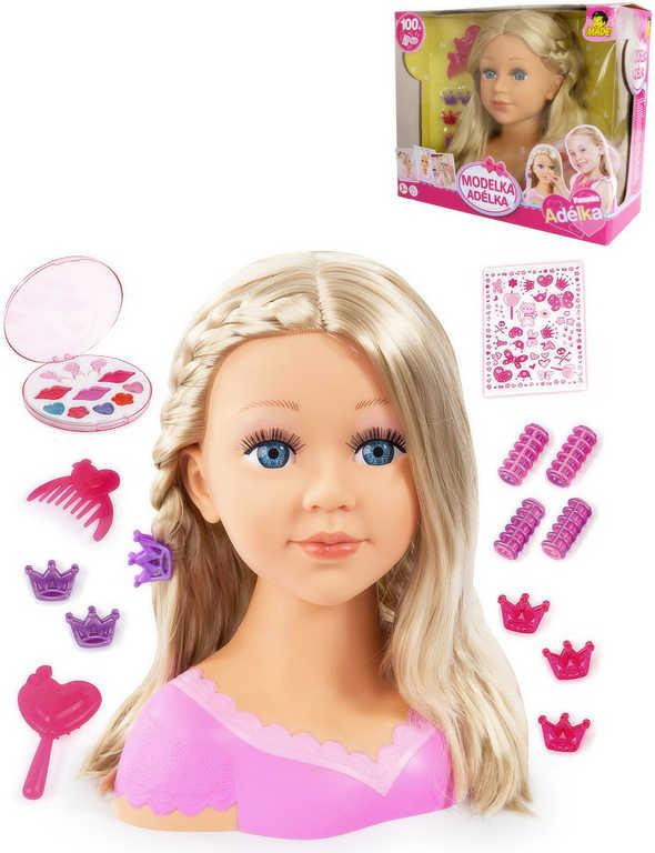 Hlava blond česací Adélka 27cm set s doplňky 13ks v krabici