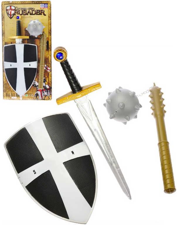 Sada rytířská plastová meč + štít 31cm + řemdih na kartě