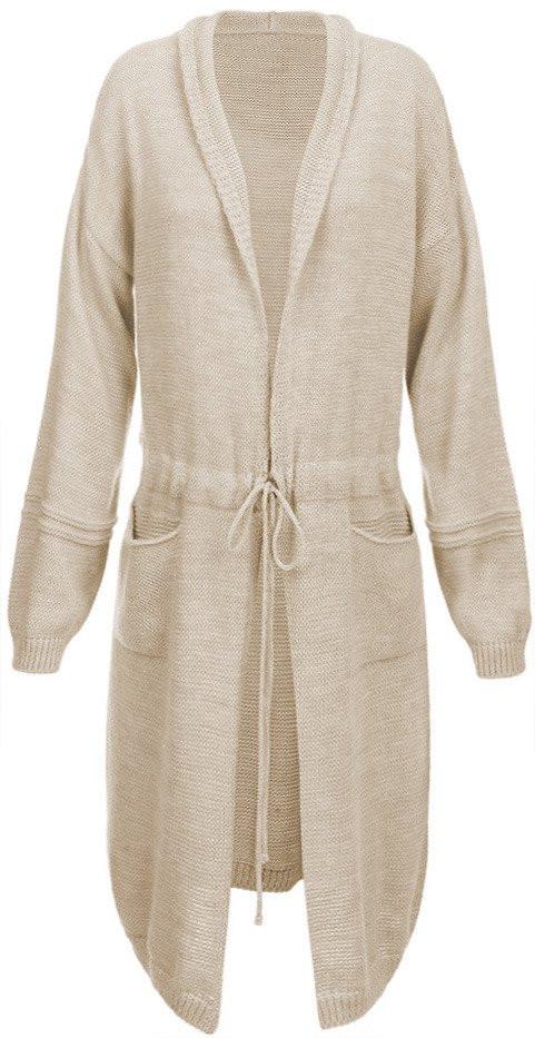 Béžový dámský svetr s balonovými rukávy (116ART) - Béžová/ONE SIZE