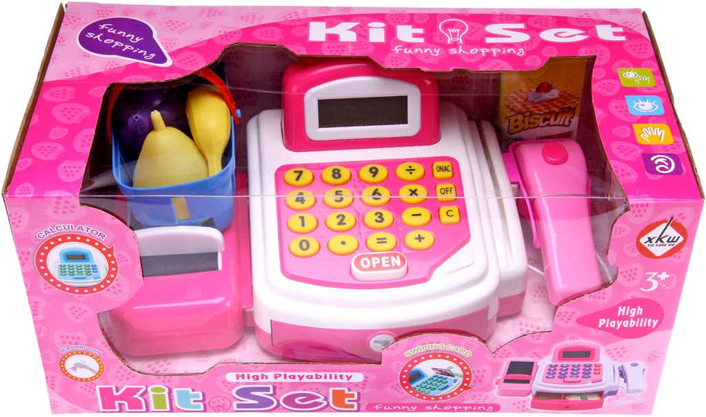 Pokladna dětská registrační kasa s kalkulačkou a doplňky růžová na baterie
