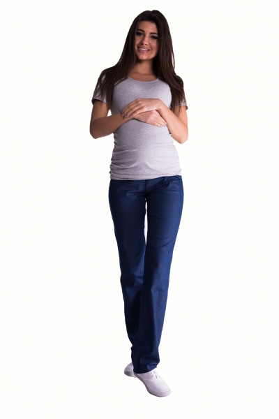 Bavlněné, těhotenské kalhoty s regulovatelným pásem - tm.