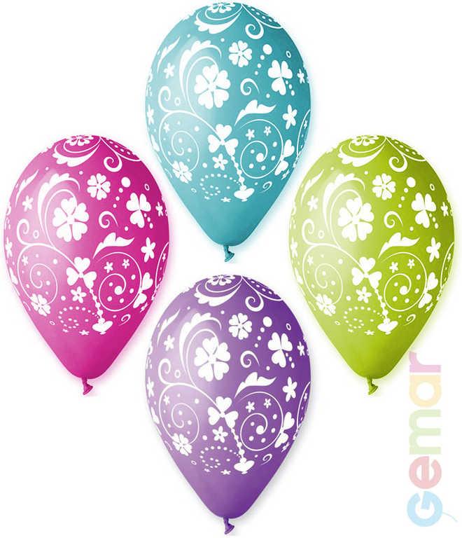 GEMAR Balónek nafukovací 30 cm Pastelový potisk KVĚTINY různé barvy 1ks