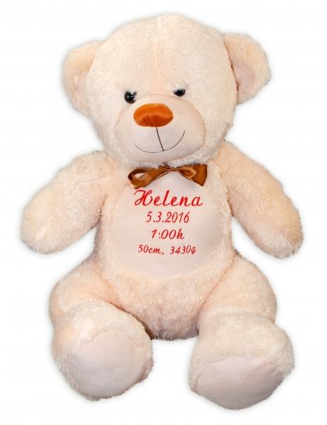Baby Nellys Plyšový medvěd 100 cm s výšivkou na přání - béžový, smetanový