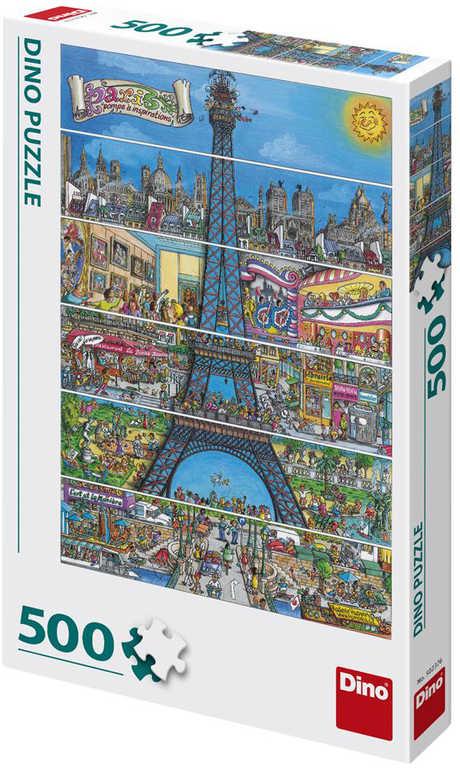 DINO Puzzle 500 dílků Paříž Eiffelova věž kreslená 33x47cm skládačka v krabici