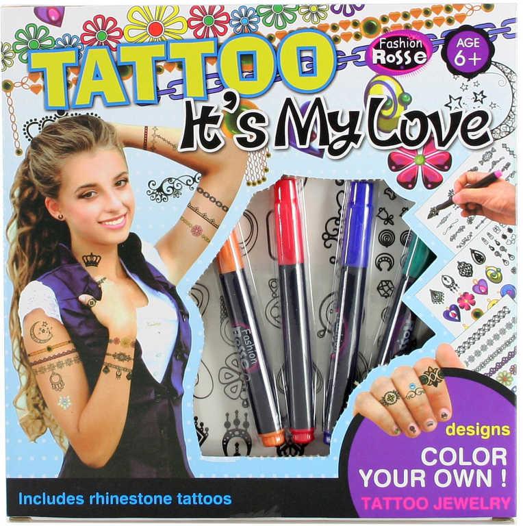 Sada holčičí tetování s fixami a ozdobnými kamínky v krabici