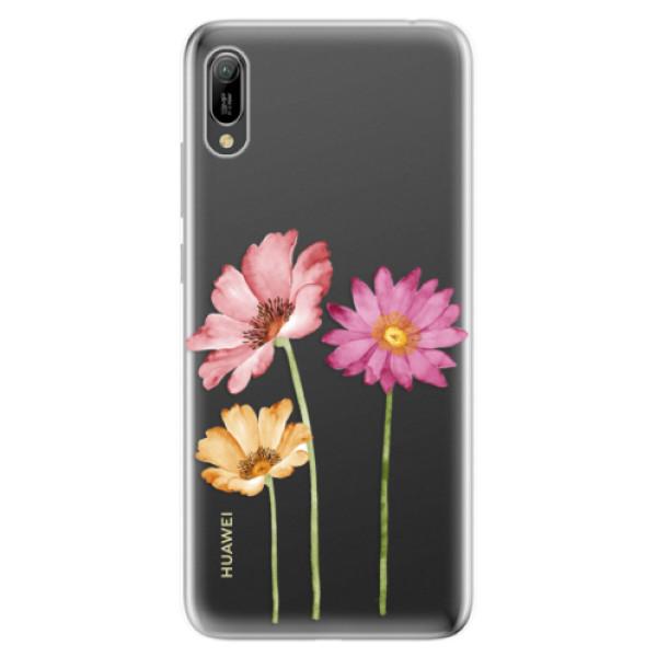 Odolné silikonové pouzdro iSaprio - Three Flowers - Huawei Y6 2019