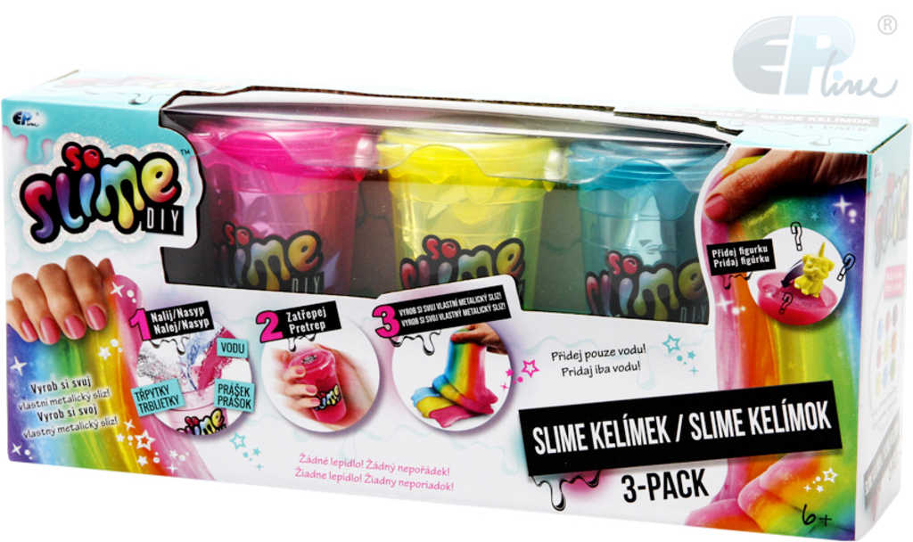 EP line So Slime výroba slizu set kelímek 3ks s figurkami se třpytkami pro holky