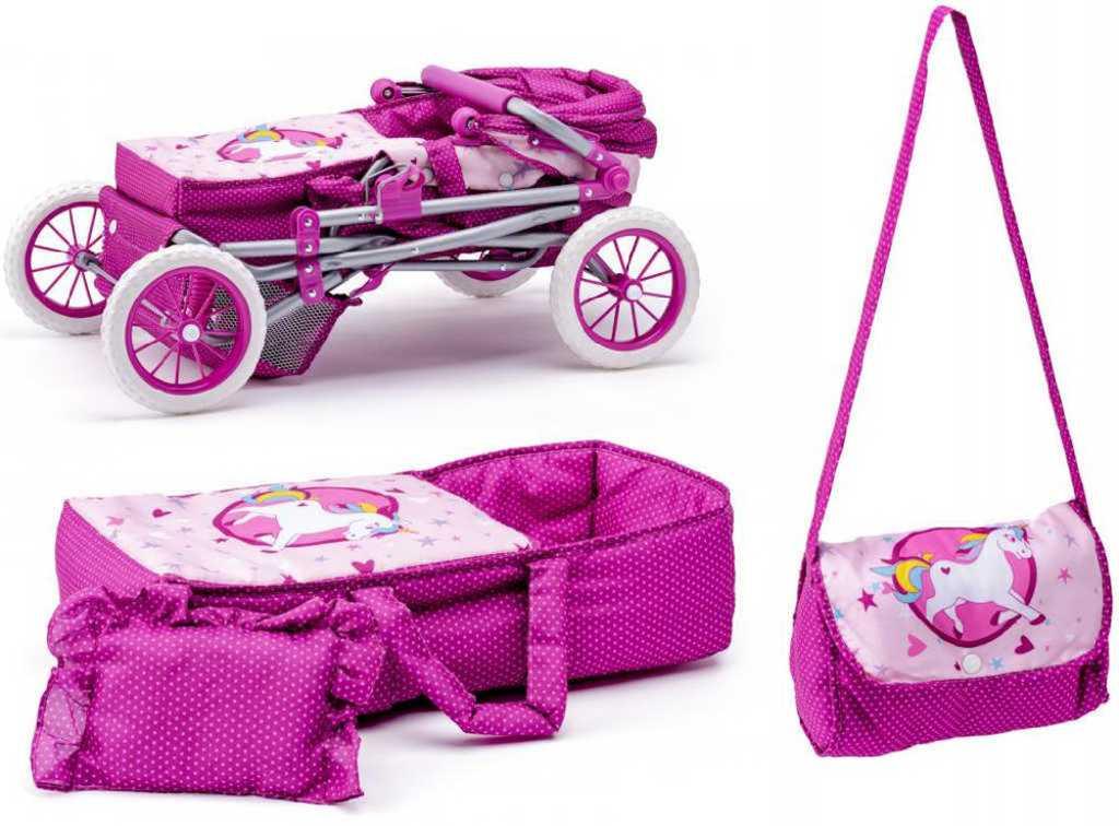 WOODY Kočárek Jednorožec velký hluboký pro panenku miminko trojkombinace 3v1