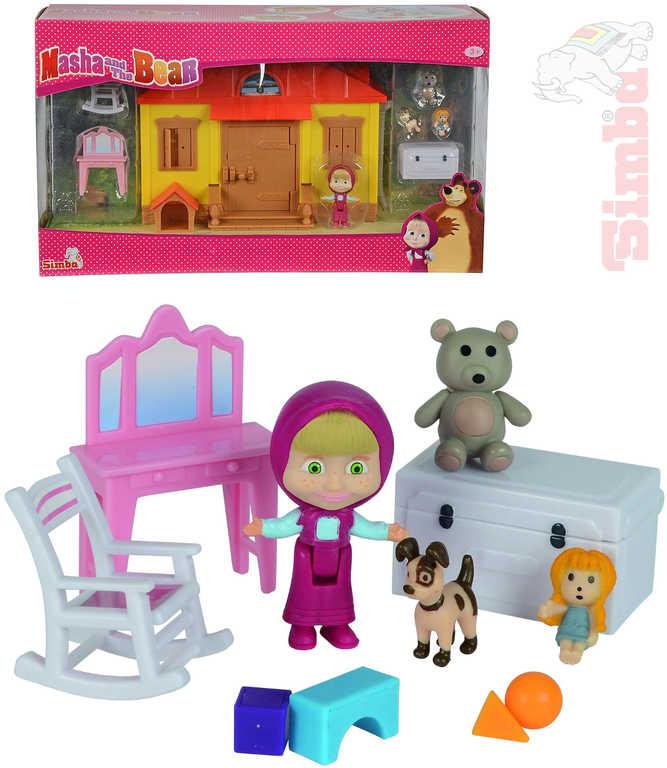 SIMBA Máša a medvěd dům Máši hrací set s doplňky plast