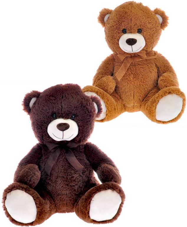 PLYŠ Medvěd sedící 40 cm hnědá mašle - 2 barvy