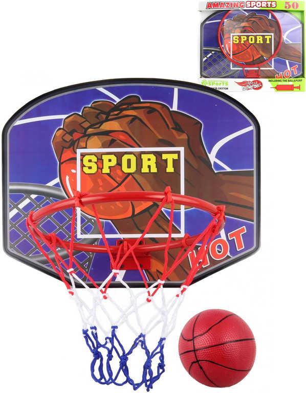 Koš basketbalový velký kovová konstrukce 49x40x37cm set s pumpičkou