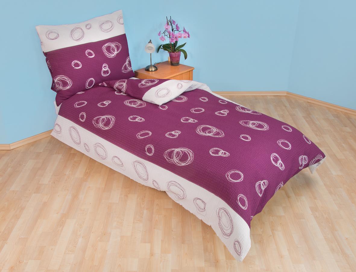 Povlečení bavlna 140x200, 70x90cm Espiral fialový, Výběr zapínání: zipový uzávěr