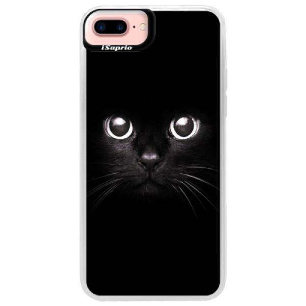 Neonové pouzdro Pink iSaprio - Black Cat - iPhone 7 Plus