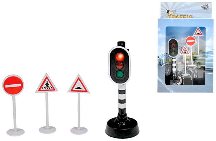 Dopravní set plastový semafor svítící + 3 dopravní značky