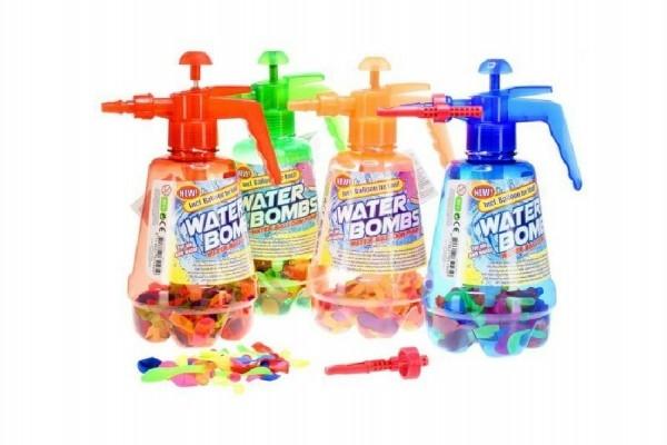 Pumpa na vodní bomby + bomby 100ks plast 30cm asst 4 barvy