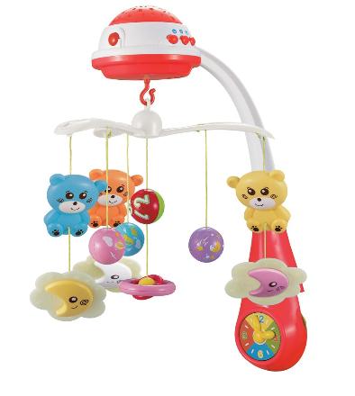 Kolotoč nad postýlku se světelným projektorem Baby Mix medvídci,červená