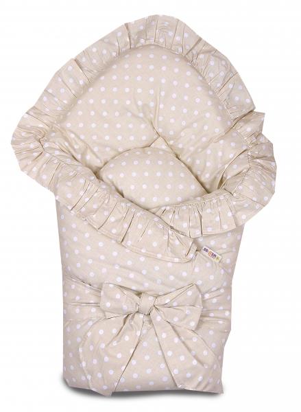 baby-nellys-rychlozavinovacka-80x80cm-s-volankem-a-stuhou-bezovy-s-puntiky