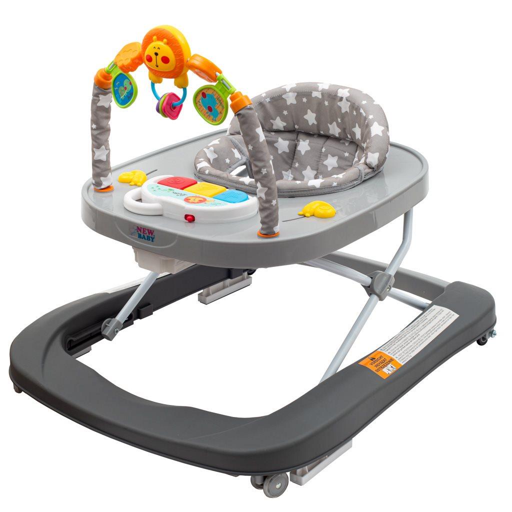 Dětské chodítko se silikonovými kolečky New Baby Forest Kingdom - Gray - šedá