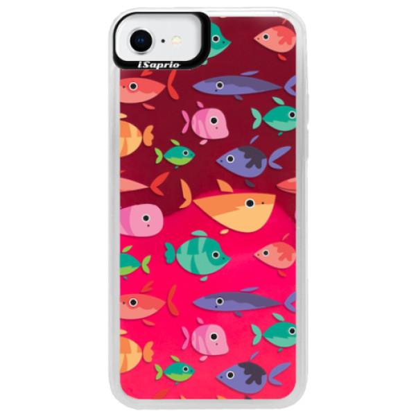 Neonové pouzdro Pink iSaprio - Fish pattern 01 - iPhone SE 2020