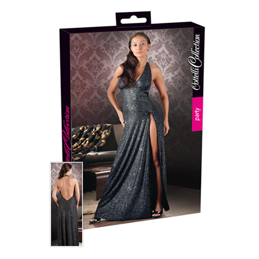 Dlouhé černé třpytivé šaty s rozparkem (L)