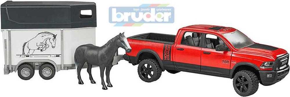 BRUDER 02501 (2501) Set auto terénní džíp RAM s přepravníkem a koněm model 1:16