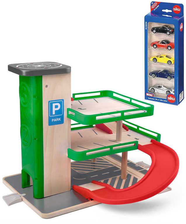 WOODY DŘEVO Garáž s výtahem herní set parkovací dům se SIKU autíčky