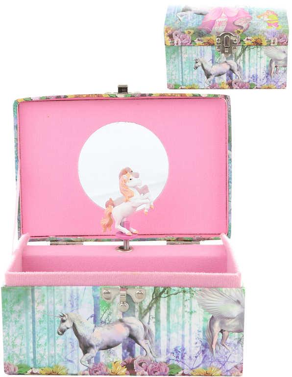 Šperkovnice hrací skříňka s koníkem na natažení v sáčku