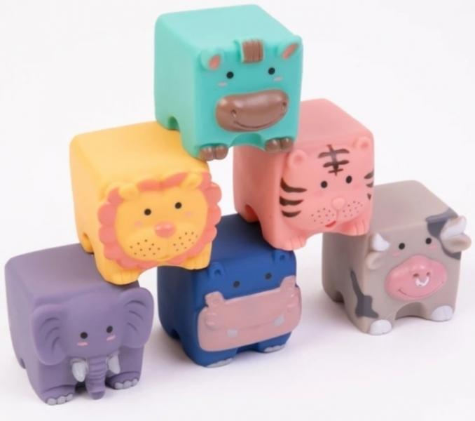 Tulimi Edukační barevné měkké kostky Zvířátka, 12ks