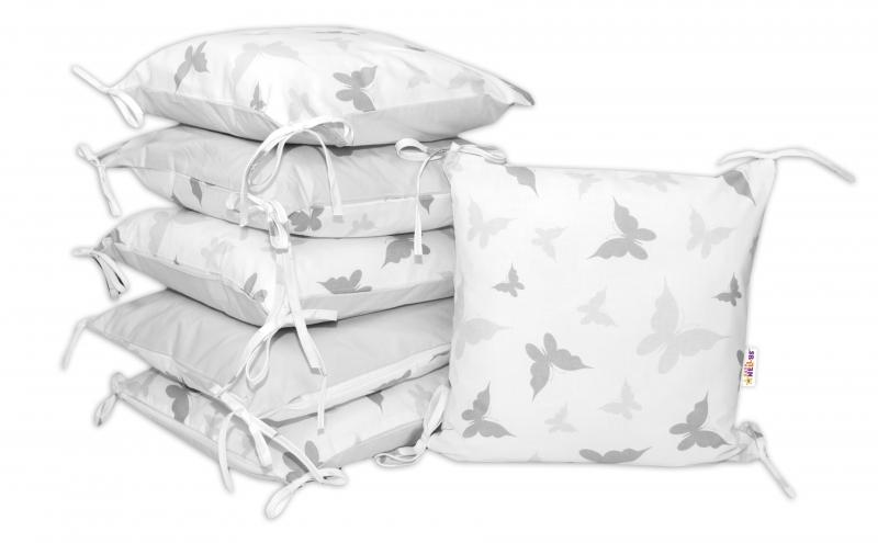 Bavlněný polštářkový mantinel Baby Nellys, Motýlci - šedý