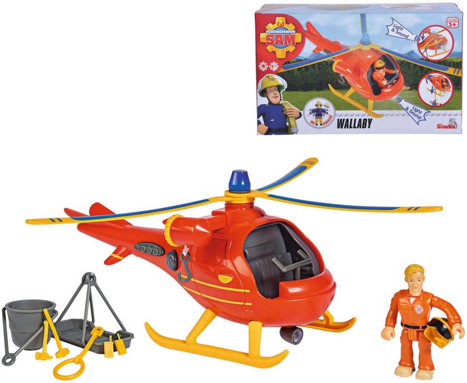 SIMBA Požárník Sam vrtulník záchranářský set s figurkou Toma na baterie Světlo Zvuk