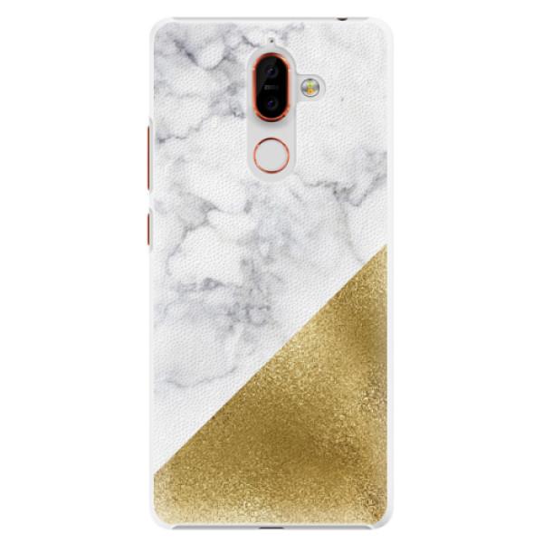 Plastové pouzdro iSaprio - Gold and WH Marble - Nokia 7 Plus