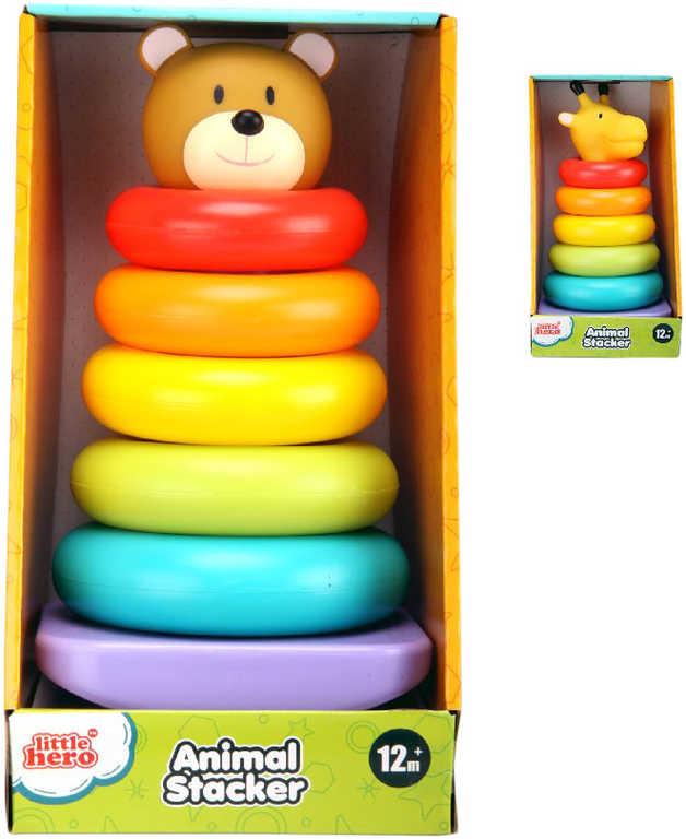 Pyramida plastová navlékací kroužky medvěd / žirafa - 2 druhy