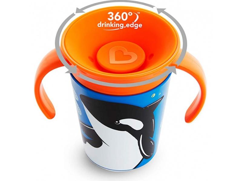 Munchkin - Juniorský hrneček WildLove 360° s oušky 177 ml - kosatka