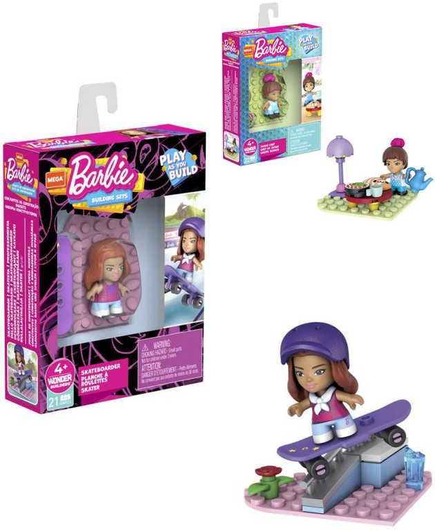 MATTEL Mega Construx stavebnice mikro panenka Barbie s doplňky 6 druhů