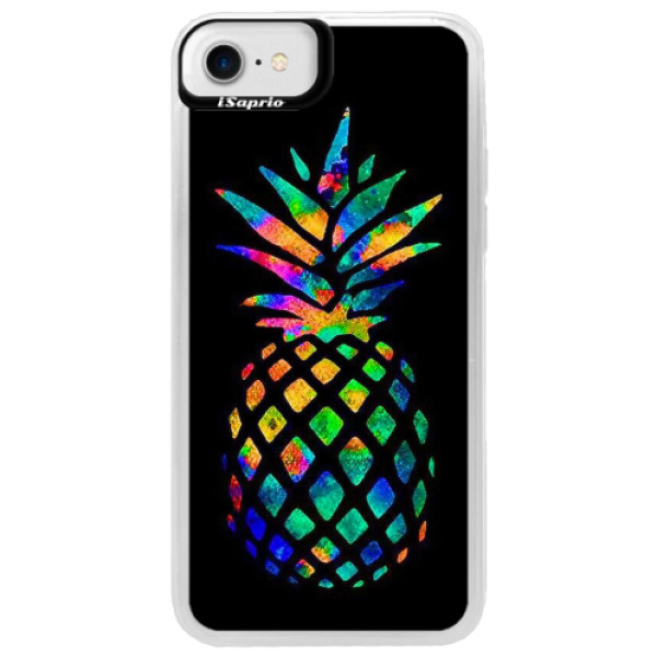 Neonové pouzdro Blue iSaprio - Rainbow Pineapple - iPhone 7