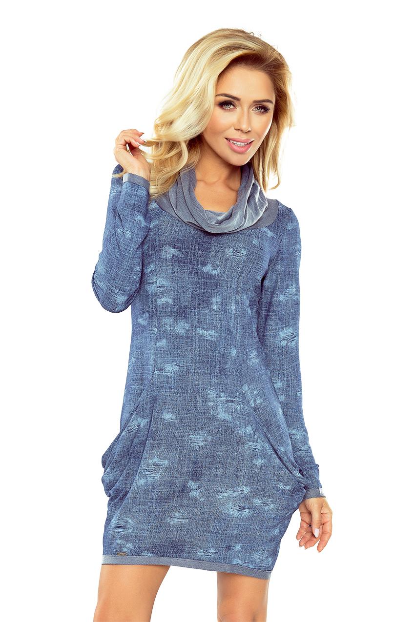 Džínové šaty s rolákem a velkými kapsami model 5279956 - XL