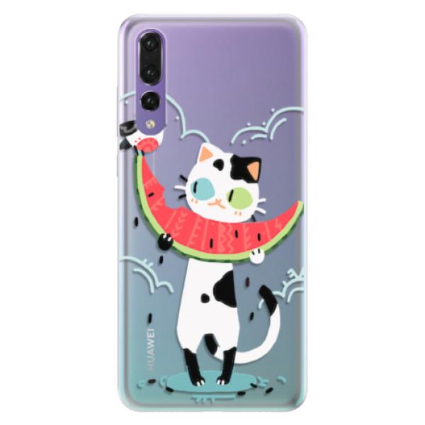 Silikonové pouzdro iSaprio - Cat with melon - Huawei P20 Pro