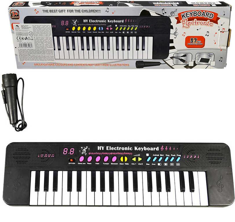 Piáno dětské elektronické 37 kláves na baterie set keyboard s mikrofonem plast