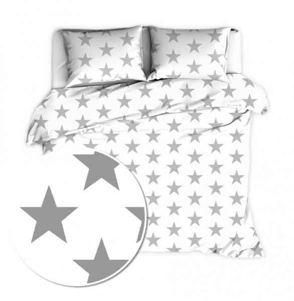 Baby Nellys 2 dílné bavlněné povlečení 140 x 200 - Big Stars - bílé - 140x200/70x80cm