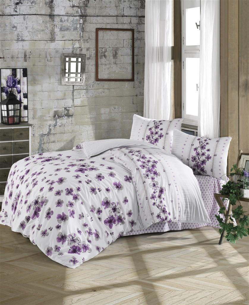 Povlečení bavlna 140x200, 70x90cm Lorieta purple, Výběr zapínání:
