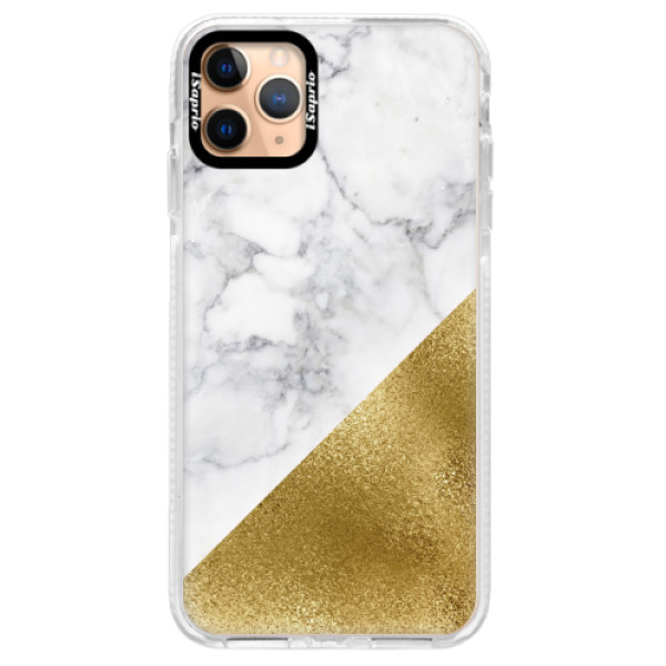 Silikonové pouzdro Bumper iSaprio - Gold and WH Marble - iPhone 11 Pro Max