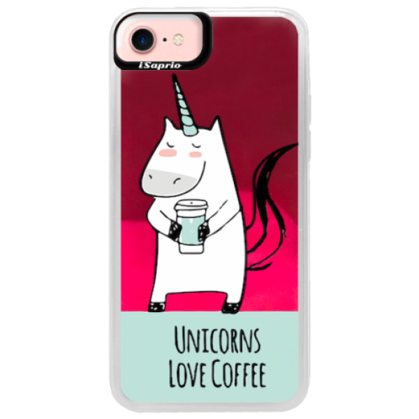 Neonové pouzdro Pink iSaprio - Unicorns Love Coffee - iPhone 7
