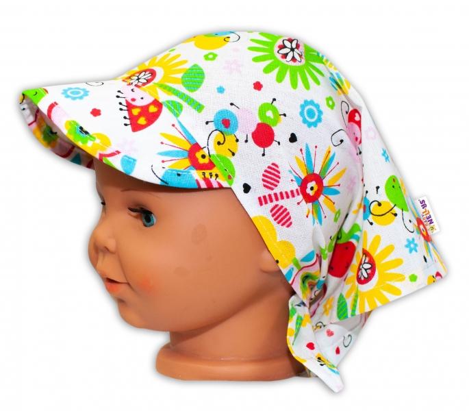 Baby Nellys Dětský šátek s kšiltem na zavazování Louka - barevná - uni