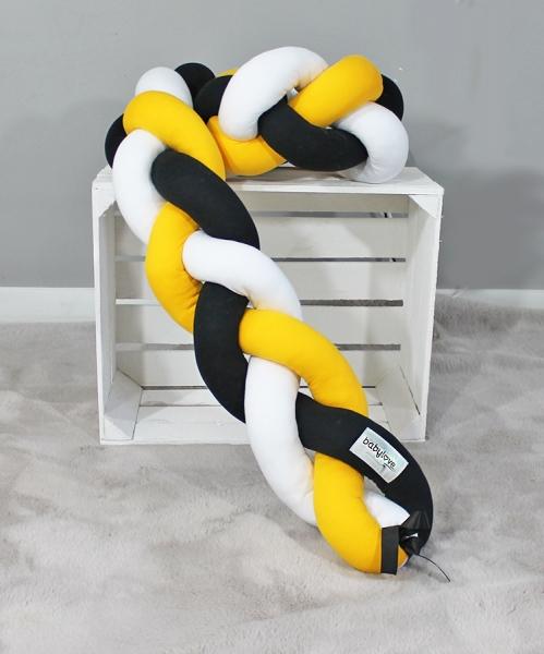 Mantinel Baby Nellys pletený cop - žlutá,černá,bílá