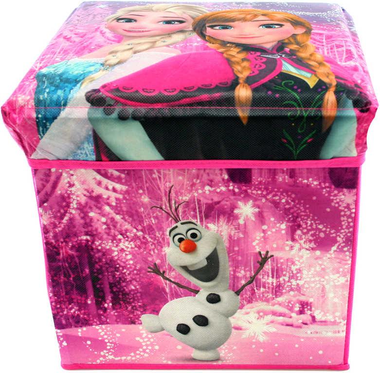 Box dětský úložný 32x32cm Frozen (Ledové Království) růžová krabice na hračky