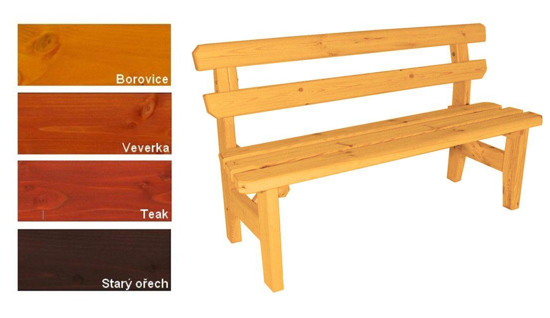 Zahradní dřevěná lavice I. - s povrchovou úpravou - 150 cm